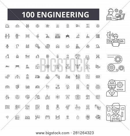 Engineering Editable Line Icons, 100 Vector Set, Collection. Engineering Black Outline Illustrations