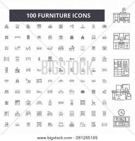 Furniture Editable Line Icons, 100 Vector Set, Collection. Furniture Black Outline Illustrations, Si