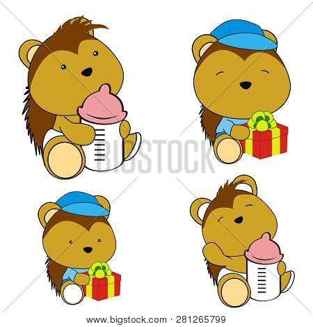 Cute Baby Porcupine Kawaii Cartoon Set Collection In Vector Format Very Easy To Edit