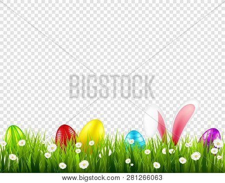 Easter Eggs On Grass With Bunny Rabbit Ears Set. Spring Holidays In April. Sunday Seasonal Celebrati