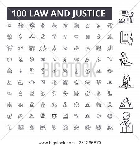 Law Justice Editable Line Icons, 100 Vector Set, Collection. Law Justice Black Outline Illustrations