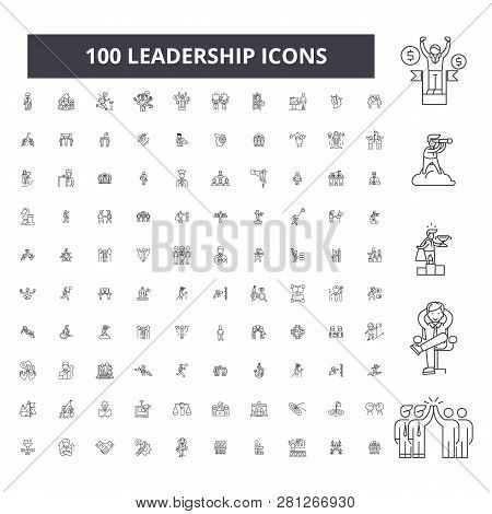 Leadership Editable Line Icons, 100 Vector Set, Collection. Leadership Black Outline Illustrations,