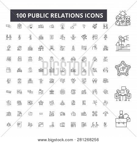 Public Relations Editable Line Icons, 100 Vector Set, Collection. Public Relations Black Outline Ill