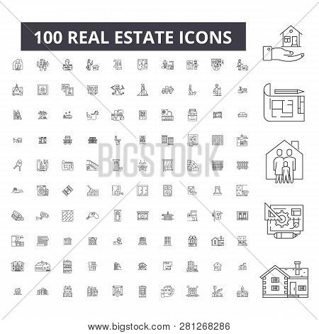 poster of Real estate editable line icons, 100 vector set, collection. Real estate black outline illustrations, signs, symbols
