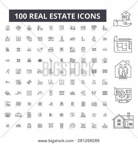 Real Estate Editable Line Icons, 100 Vector Set, Collection. Real Estate Black Outline Illustrations
