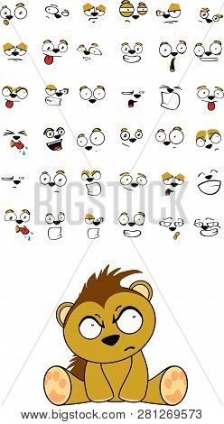 Sitting Cute Kawaii Porcupine Cartoon Expressions Collection Set In Vector