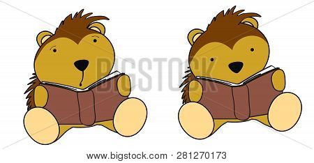 Kawaii Porcupine Baby Cartoon Reading Collection Set In Vector Format