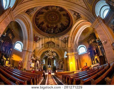Satu Mare, Romania - January 25, 2019: Interior Religious Architecture Of Romano - Catholic Bishopri