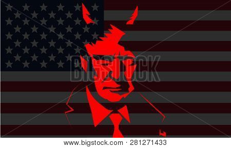 Washington, Usa - Jan 2019: Us President Donald Trump Vector Portrait On Dark Background. - Vector P