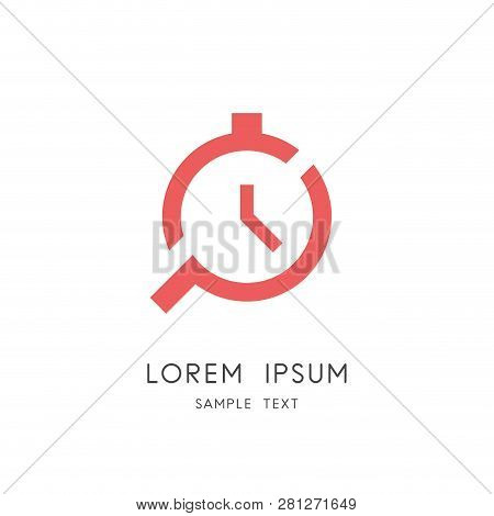 Clock And Search Logo - Stop Watch And Loupe Or Magnifier Symbol. Time Management And Control, Day P