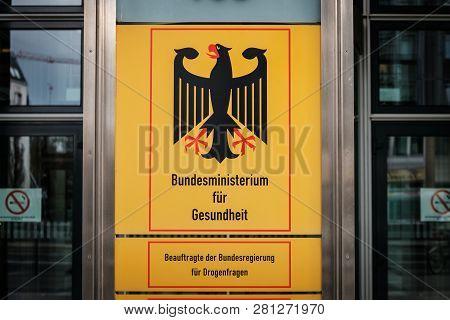 Berlin, Germany - January 2019 : German Federal Ministry Of Health ( Bundesministerium Fuer Gesundhe