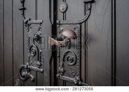 Wrought Metal Door Handle Closeup -  Church Entrance -
