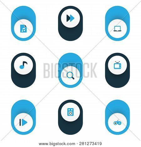 Music Icons Colored Set With Joystick, Fast Forward, Laptop And Other Quaver Elements. Isolated Vect