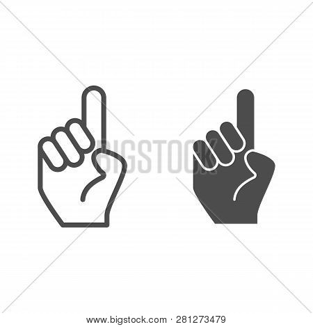 Hand With One Finger Pointing Up Line And Glyph Icon. Hand With Index Finger Up Vector Illustration