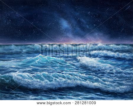 Original Oil Painting Showing Waves In  Ocean Or Sea And Night Sky On Canvas.night Scene With Stars.