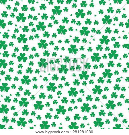 St Patrick S Day Clover Seamless Pattern. Vector Illustration For Lucky Spring Design With Shamrock.