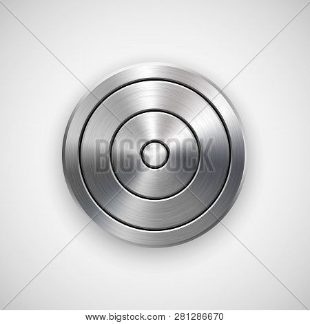 Abstract Circle Geometric Badge, Technology Perforated Button Template With Metal Texture, Chrome, S