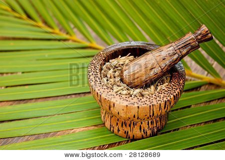 Caraway Seeds In Tradiational Wooden Mortar With Space For Text