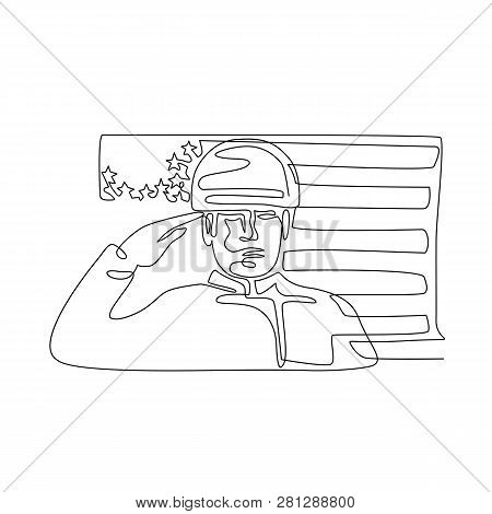 Continuous Line Illustration Of An American Soldier Or Military Personnel Saluting Usa Stars And Str