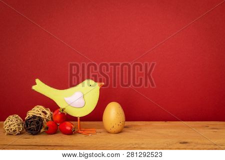 An image of a bird with an egg easter holiday decoration background