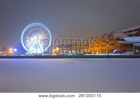 Gdansk, Poland - January 27, 2019: Gdansk city outdoor sign at snowy winter, Poland. Gdansk is the historical capital of Polish Pomerania beautiful old town.