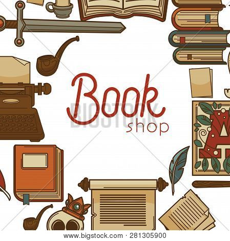 Bookshop Ancient Library Manuscripts And Letters Vector Illustration