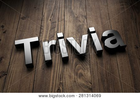 Trivia sign, title or header on wood with highlighted 3d lettering at a tilted angle and copy space above and below. 3d Rendering