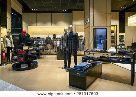 DUSSELDORF, GERMANY - CIRCA OCTOBER, 2018: Hugo Boss shop in Dusseldorf airport. Hugo Boss AG is a German luxury fashion house.