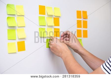 It Worker Tracking His Tasks On Kanban Board. Using Task Control Of Agile Development Methodology. M