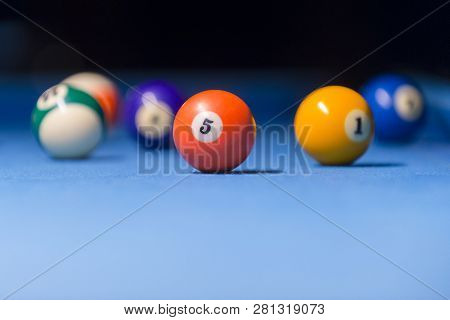 Colorful Billiards Balls. Billiard Ball At Blue Table. Colorful American Pool Snooker Balls Backgrou