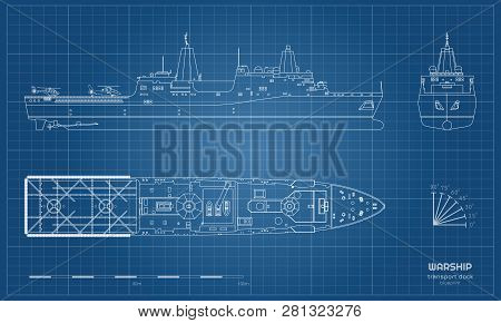 Outline Blueprint Of Military Ship. Top, Front And Side View. Battleship Model. Industrial Isolated