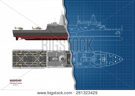 Outline Blueprint Of Military Ship. Top, Front And Side View. Battleship 3d Model. Industrial Isolat