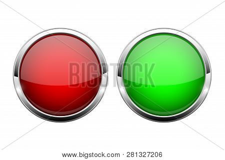 Red And Green Glass Buttons. Shiny Round 3d Web Icons. Vector Illustration Isolated On White Backgro