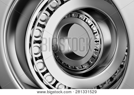 3D rendering. Automotive bearings auto spare parts. Tapered roller bearing isolated on a dark background. Wheel bearing for truck, heavy duty and car. poster