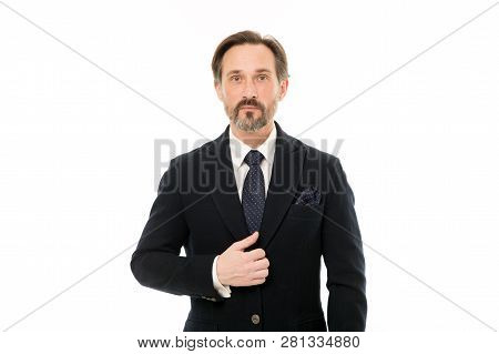 Elegant And Confident. Fashionable Aged Business Person. Mature Businessman In Formal Wear. Senior M