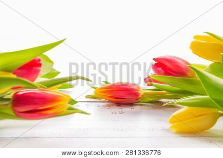 Spring Colored (red And Yellow) Tulips With Copy Space.