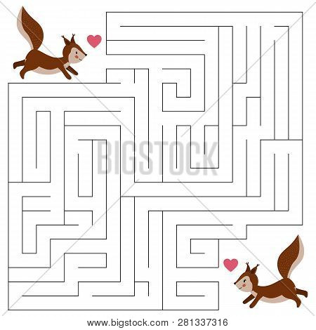 Maze Game For Children, The Cute Cartoon Squirrels. Valentines Day Theme. Woodland Animals. Hand Dra