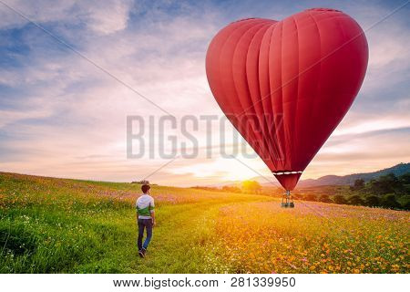 Silhouetted Of Asian Man Standing On Cosmos Flowers With Red Hot Air Balloon In The Shape Of A Heart