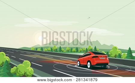Vector Illustration Of Smart Autonomous Driverless Electric Car Driving On Highway In Nature Mountai