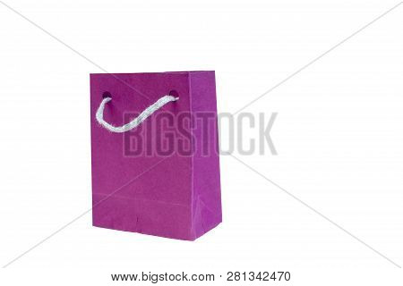 Paper Shopping Bag With Handles On White Background. Mockup For Design.
