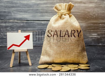 Bag With Money And Word Salary And Up Arrow And Coins. Increase Of Salary, Wage Rates. Promotion. Ca