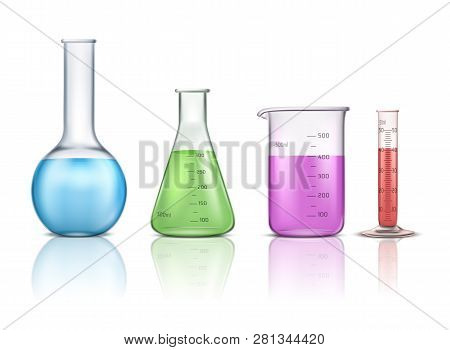 Laboratory Glassware 3d Realistic Vector Set Isolated On White Background. Graduated Lab Tube, Beake