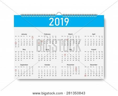 Trendy Calendar On 2019 Year. Days For Holiday. Calendar With Shadow On Blank Background. Calendar 2