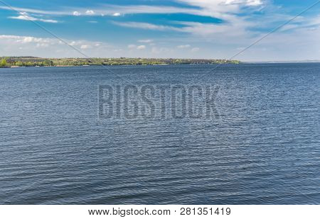 Landscape With Dnipro River At Spring Season In Central Ukraine