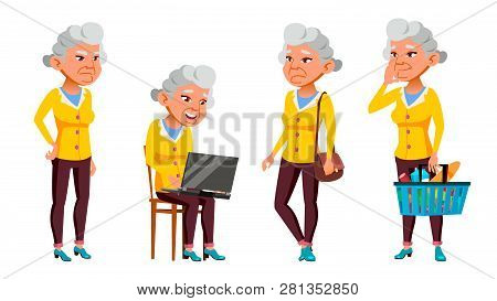 Asian Old Woman Poses Set Vector. Elderly People. Senior Person. Aged. Beautiful Retiree. Life. Pres