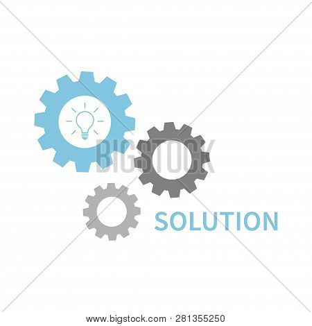 Solution Or Idea Concept. Business Conception Idea Or Solution. Blue Gear Wheels With Light Bulb