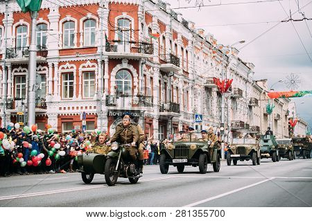 Gomel, Belarus - May 9, 2017: Parade Of Russian Soviet Military Warfare Of Ww2 Time With Re-enacors