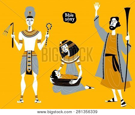 Bible Story. Passover Haggadah. Pharaoh. Pharaohs Daughter Finds The Basket With Moses. Hebrew Proph
