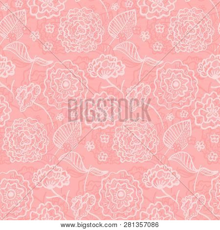 Tender Coral Seamless Pattern With Spring Outline White Hand Drawn Flowers. Romantic Rose Flowers An
