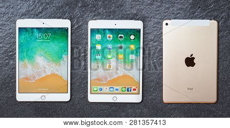 Bangkok, Thailand - January 28, 2019 : Tablet Computer New Apple Ipad Mini White Gold Color With Dis
